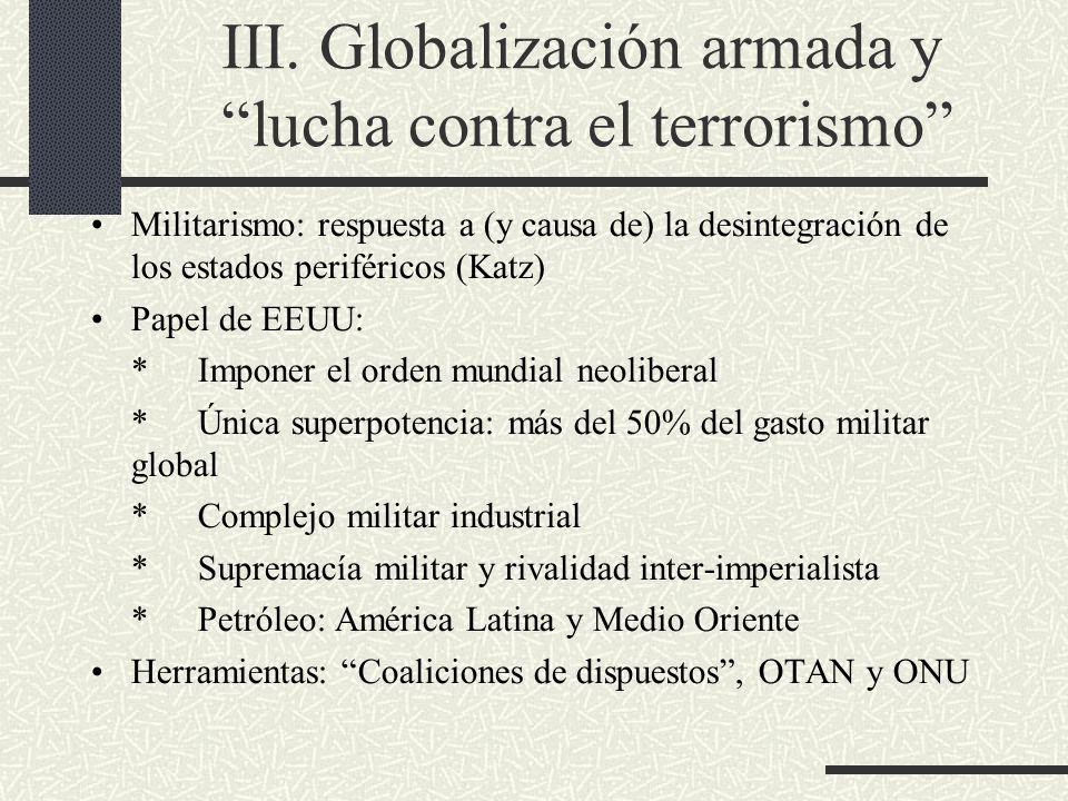 III. Globalización armada y lucha contra el terrorismo Militarismo: respuesta a (y causa de) la desintegración de los estados periféricos (Katz) Papel