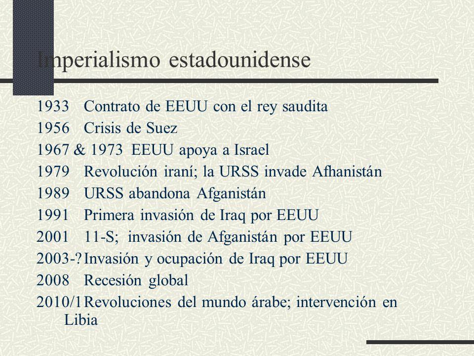 Imperialismo estadounidense 1933Contrato de EEUU con el rey saudita 1956Crisis de Suez 1967 & 1973 EEUU apoya a Israel 1979Revolución iraní; la URSS i