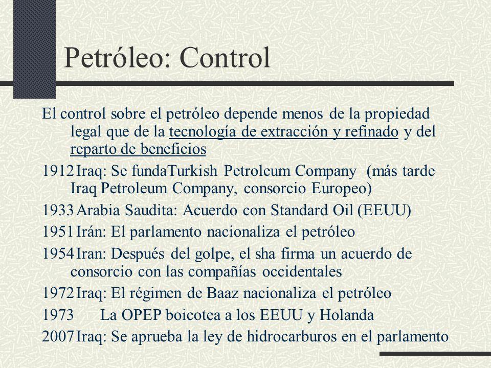 Petróleo: Control El control sobre el petróleo depende menos de la propiedad legal que de la tecnología de extracción y refinado y del reparto de bene