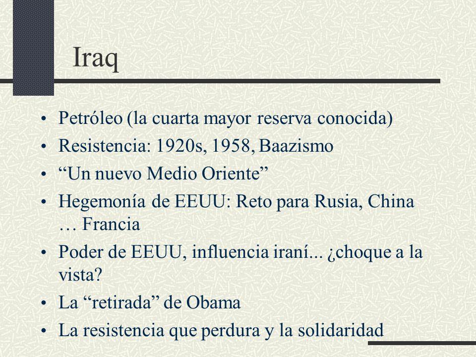 Iraq Petróleo (la cuarta mayor reserva conocida) Resistencia: 1920s, 1958, Baazismo Un nuevo Medio Oriente Hegemonía de EEUU: Reto para Rusia, China …