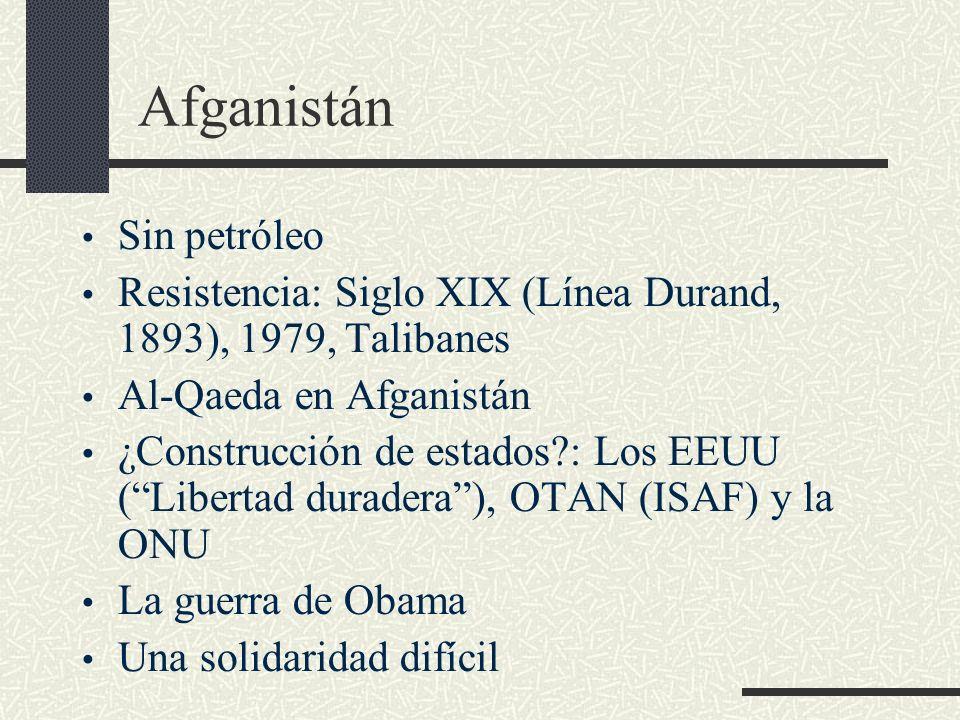 Afganistán Sin petróleo Resistencia: Siglo XIX (Línea Durand, 1893), 1979, Talibanes Al-Qaeda en Afganistán ¿Construcción de estados?: Los EEUU (Liber