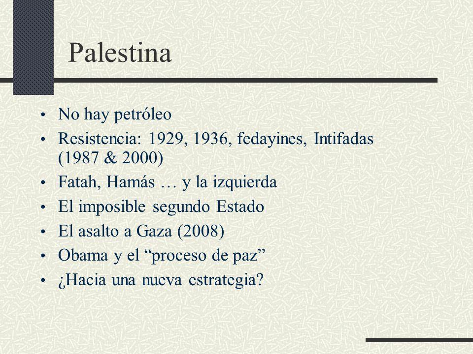 Palestina No hay petróleo Resistencia: 1929, 1936, fedayines, Intifadas (1987 & 2000) Fatah, Hamás … y la izquierda El imposible segundo Estado El asa