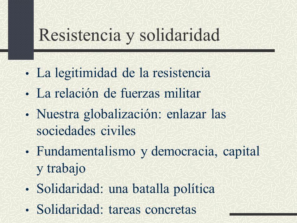 Resistencia y solidaridad La legitimidad de la resistencia La relación de fuerzas militar Nuestra globalización: enlazar las sociedades civiles Fundam