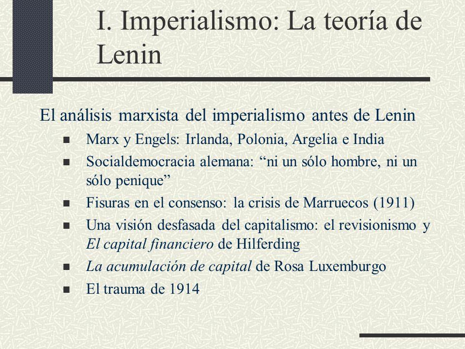 I. Imperialismo: La teoría de Lenin El análisis marxista del imperialismo antes de Lenin Marx y Engels: Irlanda, Polonia, Argelia e India Socialdemocr