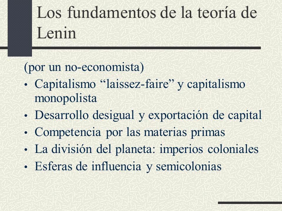Los fundamentos de la teoría de Lenin (por un no-economista) Capitalismo laissez-faire y capitalismo monopolista Desarrollo desigual y exportación de