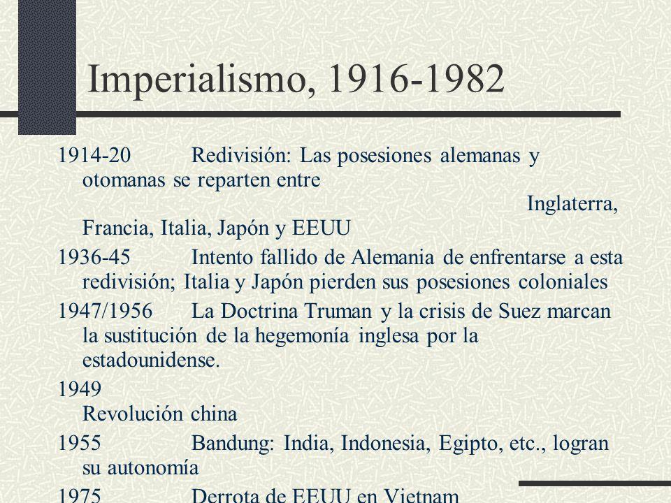 Imperialismo, 1916-1982 1914-20Redivisión: Las posesiones alemanas y otomanas se reparten entre Inglaterra, Francia, Italia, Japón y EEUU 1936-45Inten