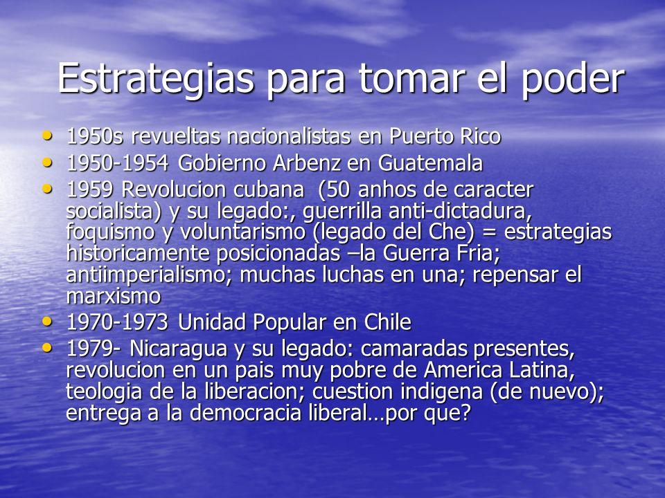 Estrategias para tomar el poder 1950s revueltas nacionalistas en Puerto Rico 1950s revueltas nacionalistas en Puerto Rico 1950-1954 Gobierno Arbenz en