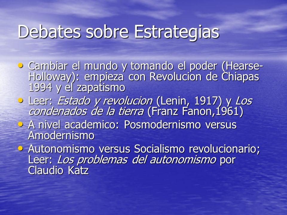 Debates sobre Estrategias Cambiar el mundo y tomando el poder (Hearse- Holloway): empieza con Revolucion de Chiapas 1994 y el zapatismo Cambiar el mun