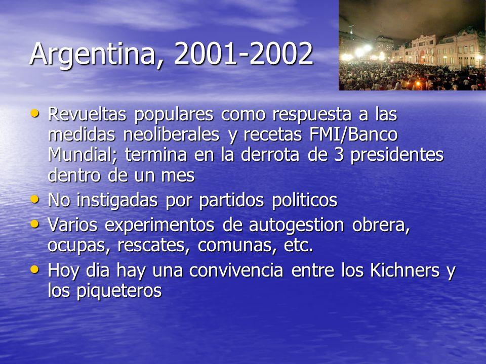 Argentina, 2001-2002 Revueltas populares como respuesta a las medidas neoliberales y recetas FMI/Banco Mundial; termina en la derrota de 3 presidentes