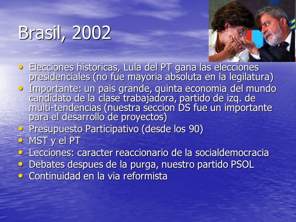 Brasil, 2002 Elecciones historicas, Lula del PT gana las elecciones presidenciales (no fue mayoria absoluta en la legilatura) Elecciones historicas, L