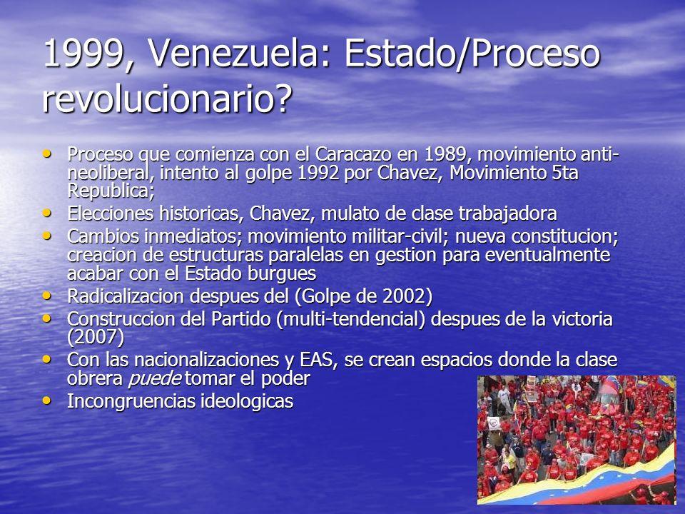 1999, Venezuela: Estado/Proceso revolucionario? Proceso que comienza con el Caracazo en 1989, movimiento anti- neoliberal, intento al golpe 1992 por C