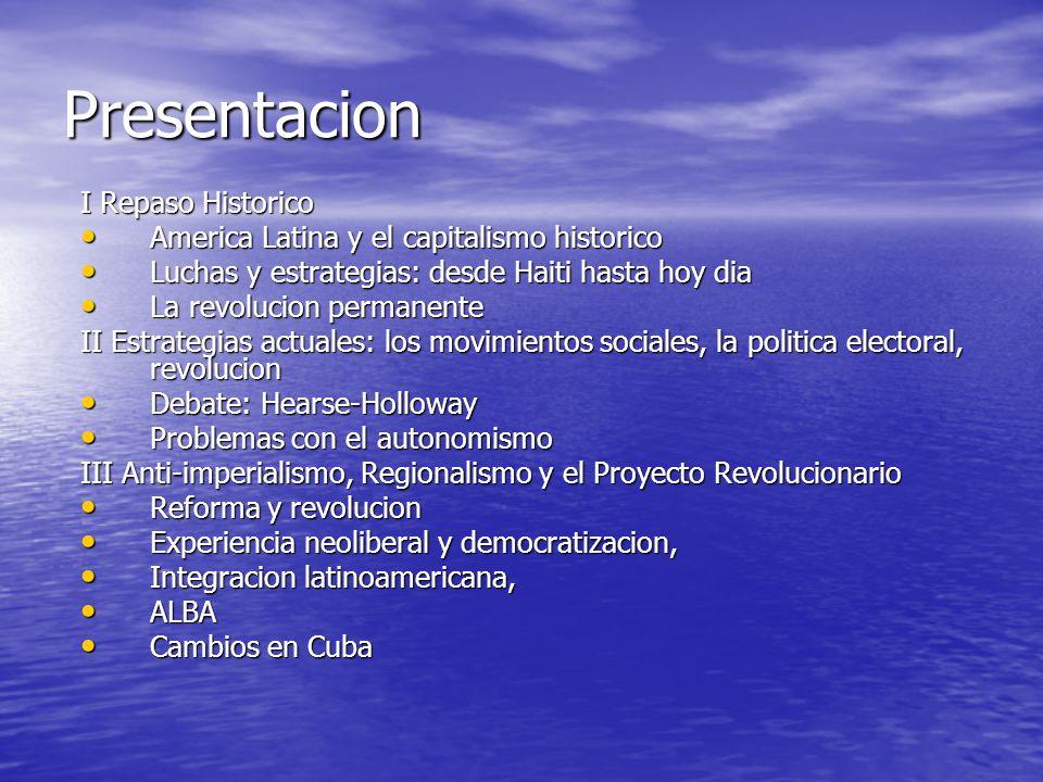 Respuestas anti-imperialista/Contra hegemonicas Integracion capitalista (Mercosur, Banco del Sur, UNASUR) Integracion capitalista (Mercosur, Banco del Sur, UNASUR) Integracion pos-neoliberal (ALBA) Integracion pos-neoliberal (ALBA) Decomposicion de la OEA Decomposicion de la OEA CELAC CELAC Telesur Telesur Capitalismo del Estado, Neo- structuralismo, Control del Mercado Capitalismo del Estado, Neo- structuralismo, Control del Mercado