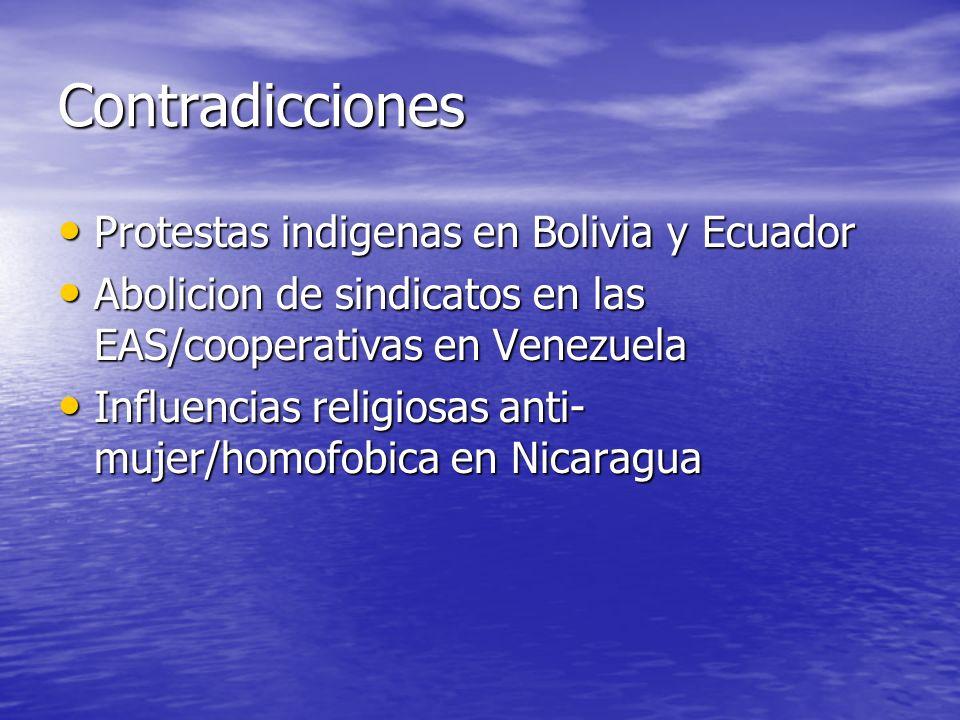 Contradicciones Protestas indigenas en Bolivia y Ecuador Protestas indigenas en Bolivia y Ecuador Abolicion de sindicatos en las EAS/cooperativas en V