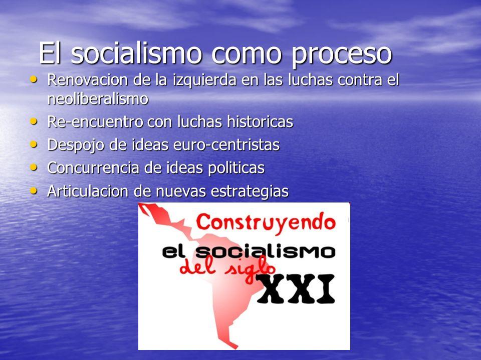 El socialismo como proceso El socialismo como proceso Renovacion de la izquierda en las luchas contra el neoliberalismo Renovacion de la izquierda en