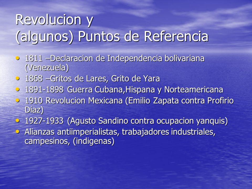 Revolucion y (algunos) Puntos de Referencia 1811 –Declaracion de Independencia bolivariana (Venezuela) 1811 –Declaracion de Independencia bolivariana