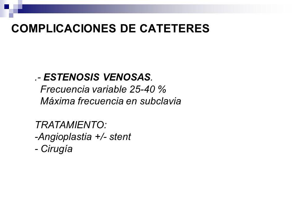 COMPLICACIONES DE CATETERES.- ESTENOSIS VENOSAS. Frecuencia variable 25-40 % Máxima frecuencia en subclavia TRATAMIENTO: -Angioplastia +/- stent - Cir
