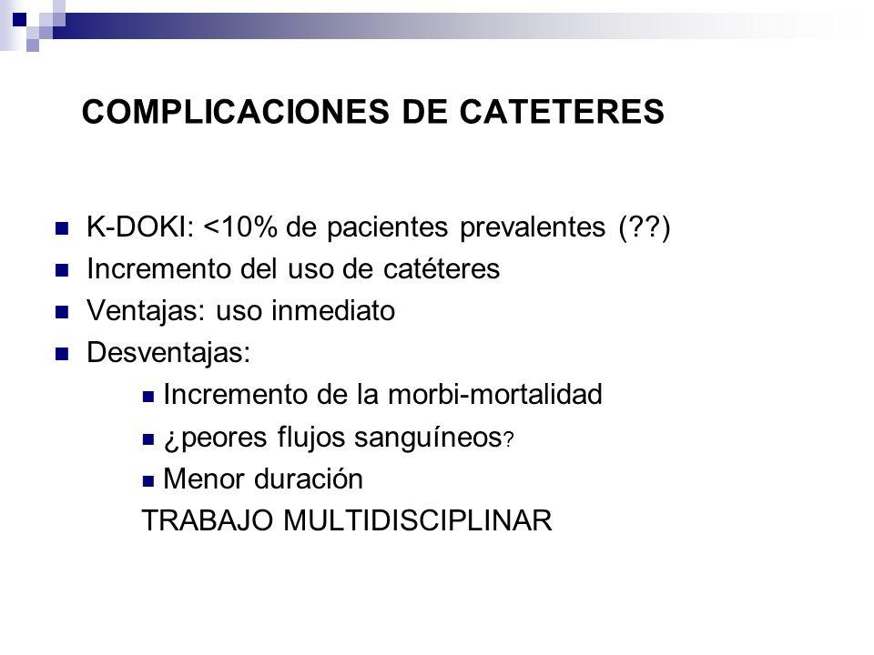 K-DOKI: <10% de pacientes prevalentes (??) Incremento del uso de catéteres Ventajas: uso inmediato Desventajas: Incremento de la morbi-mortalidad ¿peo