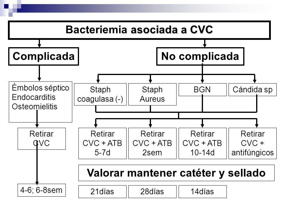 Staph coagulasa (-) Cándida spStaph Aureus BGN asociada a CVC Bacteriemia asociada a CVC ComplicadaNo complicada Émbolos séptico Endocarditis Osteomie