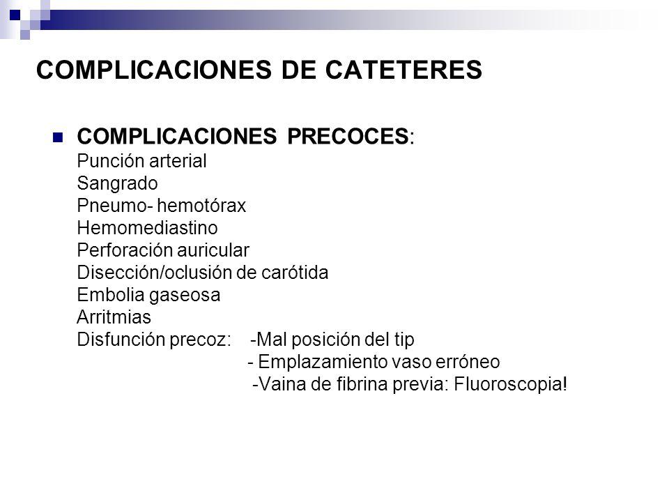 COMPLICACIONES PRECOCES: Punción arterial Sangrado Pneumo- hemotórax Hemomediastino Perforación auricular Disección/oclusión de carótida Embolia gaseo
