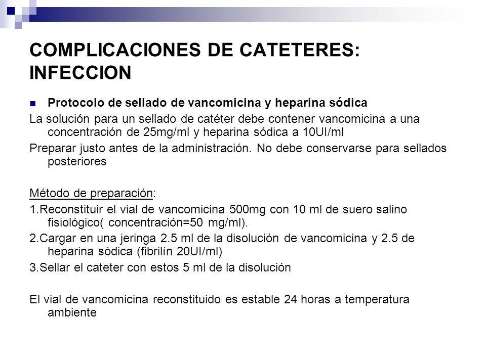 COMPLICACIONES DE CATETERES: INFECCION Protocolo de sellado de vancomicina y heparina sódica La solución para un sellado de catéter debe contener vanc