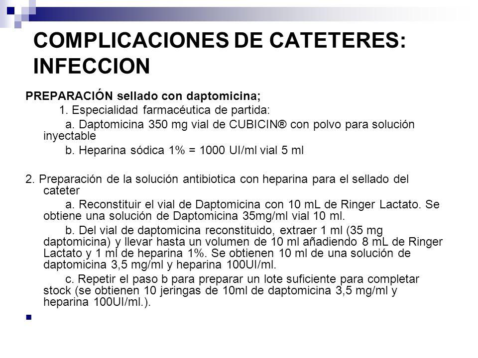 COMPLICACIONES DE CATETERES: INFECCION PREPARACIÓN sellado con daptomicina; 1. Especialidad farmacéutica de partida: a. Daptomicina 350 mg vial de CUB