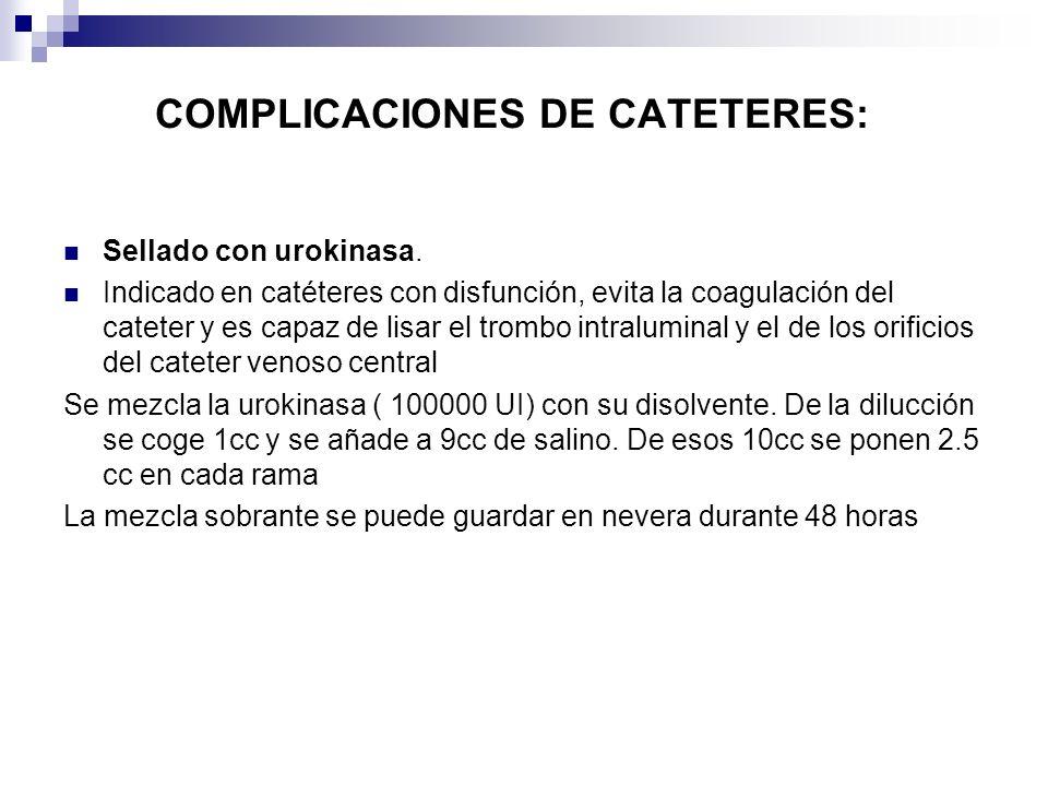 COMPLICACIONES DE CATETERES: Sellado con urokinasa. Indicado en catéteres con disfunción, evita la coagulación del cateter y es capaz de lisar el trom