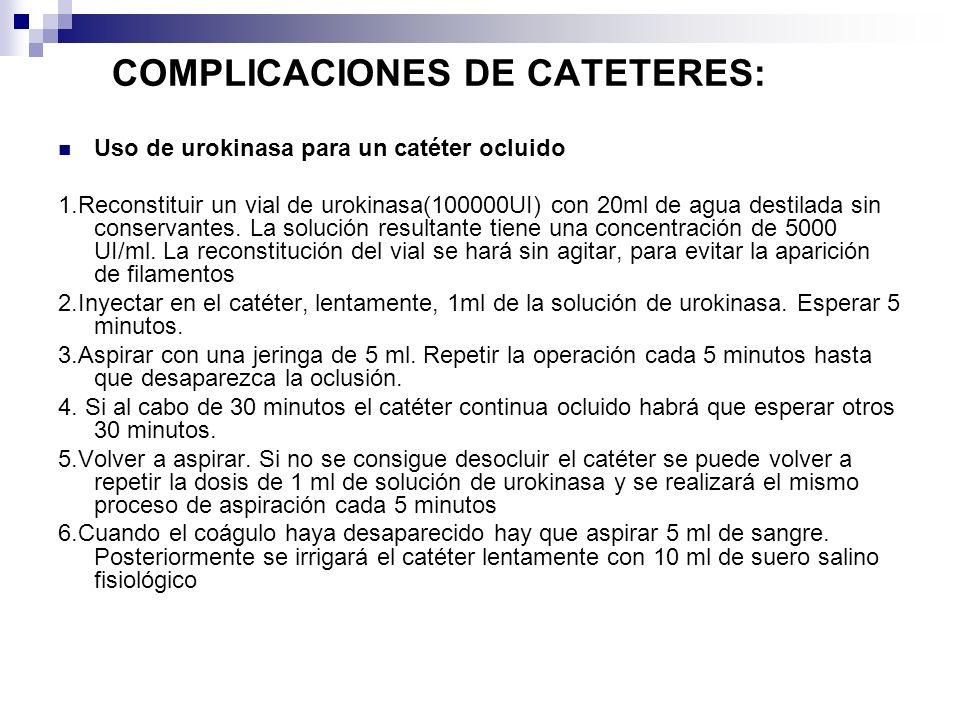 COMPLICACIONES DE CATETERES: Uso de urokinasa para un catéter ocluido 1.Reconstituir un vial de urokinasa(100000UI) con 20ml de agua destilada sin con