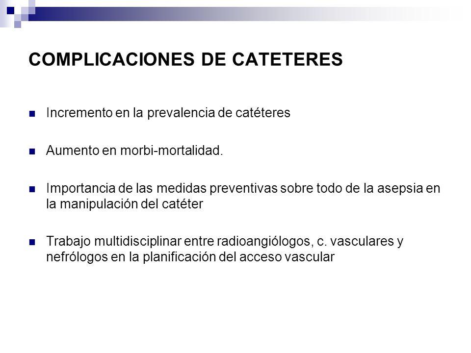 COMPLICACIONES DE CATETERES Incremento en la prevalencia de catéteres Aumento en morbi-mortalidad. Importancia de las medidas preventivas sobre todo d