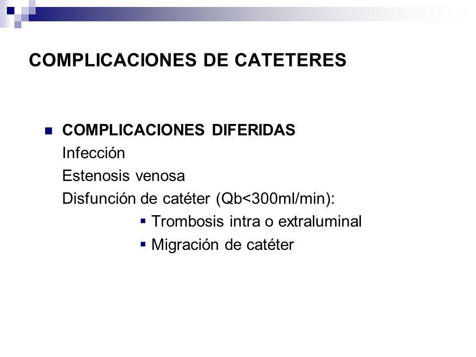 COMPLICACIONES DIFERIDAS Infección Estenosis venosa Disfunción de catéter (Qb<300ml/min): Trombosis intra o extraluminal Migración de catéter