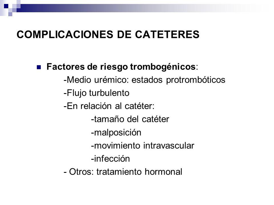 COMPLICACIONES DE CATETERES Factores de riesgo trombogénicos: -Medio urémico: estados protrombóticos -Flujo turbulento -En relación al catéter: -tamañ
