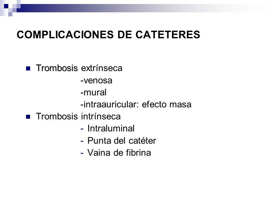 COMPLICACIONES DE CATETERES Trombosis Trombosis extrínseca -venosa -mural -intraauricular: efecto masa Trombosis intrínseca -Intraluminal -Punta del c