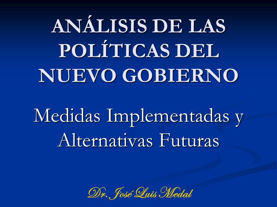 ANÁLISIS DE LAS POLÍTICAS DEL NUEVO GOBIERNO Medidas Implementadas y Alternativas Futuras Dr. José Luis Medal