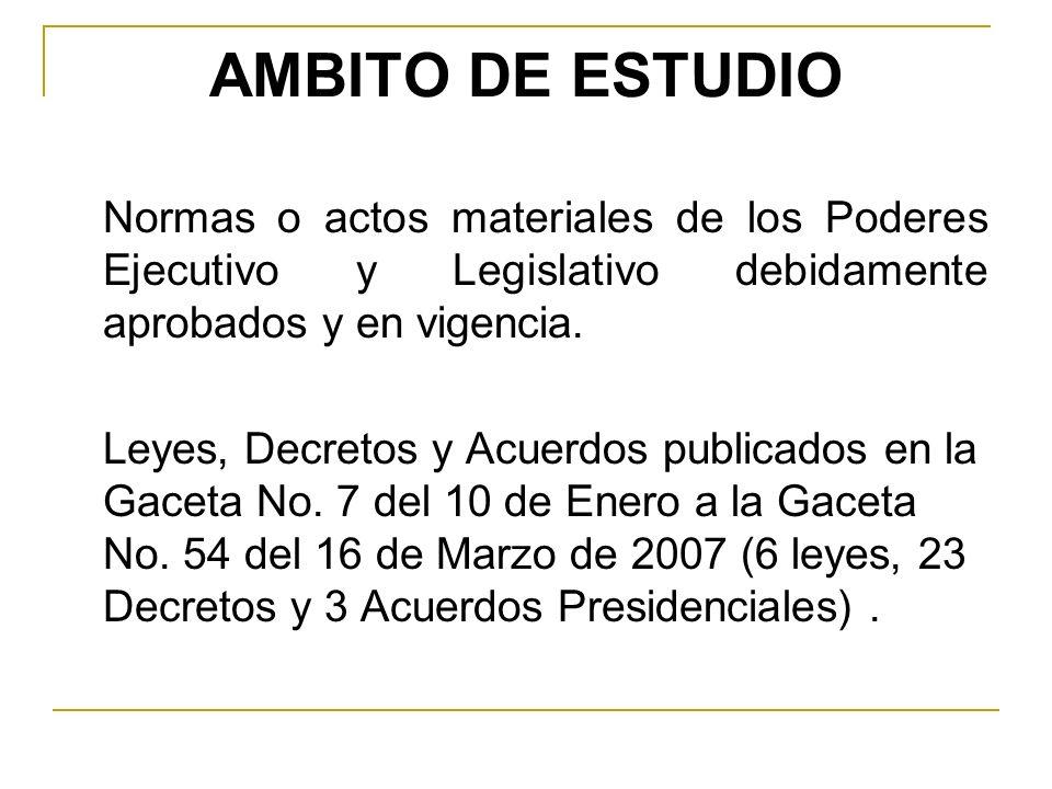 AMBITO DE ESTUDIO Normas o actos materiales de los Poderes Ejecutivo y Legislativo debidamente aprobados y en vigencia. Leyes, Decretos y Acuerdos pub