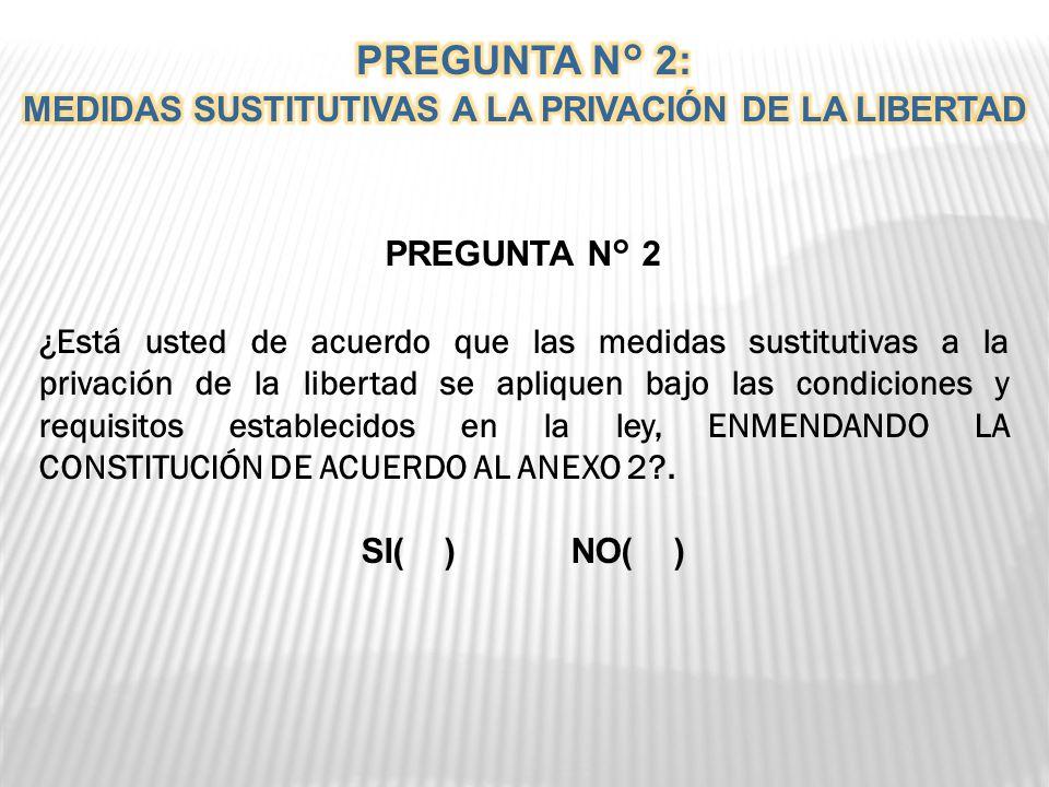 PREGUNTA N° 2 ¿Está usted de acuerdo que las medidas sustitutivas a la privación de la libertad se apliquen bajo las condiciones y requisitos establecidos en la ley, ENMENDANDO LA CONSTITUCIÓN DE ACUERDO AL ANEXO 2?.