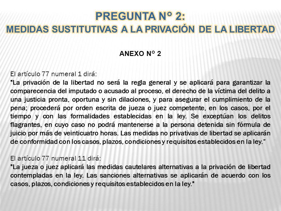 . PREGUNTA N° 2 ¿Está usted de acuerdo que las medidas sustitutivas a la privación de la libertad se apliquen bajo las condiciones y requisitos establ