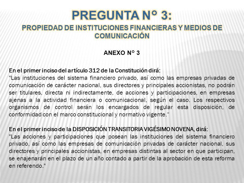 . PREGUNTA N° 3 ¿Está usted de acuerdo con prohibir que las instituciones del sistema financiero privado, así como las empresas de comunicación privad