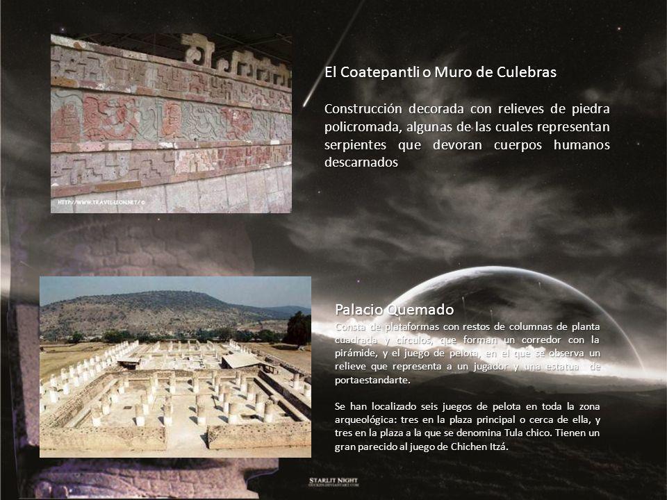Palacio Quemado Consta de plataformas con restos de columnas de planta cuadrada y círculos, que forman un corredor con la pirámide, y el juego de pelo