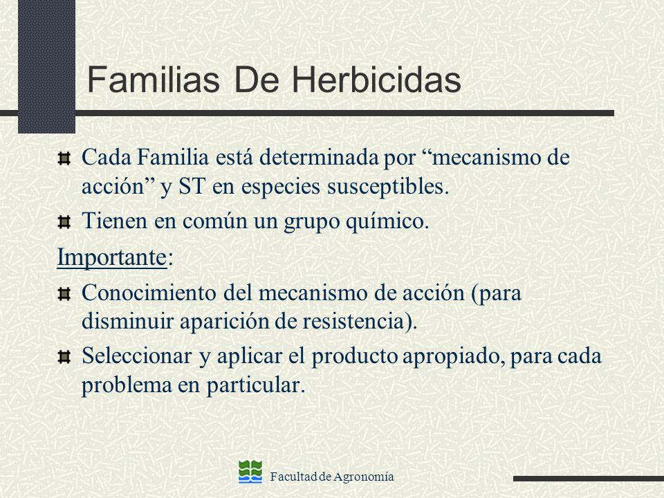 Facultad de Agronomía Familias De Herbicidas Cada Familia está determinada por mecanismo de acción y ST en especies susceptibles. Tienen en común un g