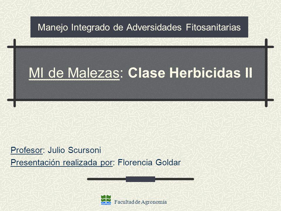 Facultad de Agronomía Manejo Integrado de Adversidades Fitosanitarias Profesor: Julio Scursoni Presentación realizada por: Florencia Goldar MI de Male