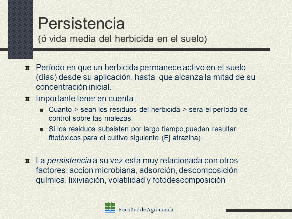 Facultad de Agronomía Persistencia (ó vida media del herbicida en el suelo) Período en que un herbicida permanece activo en el suelo (días) desde su a