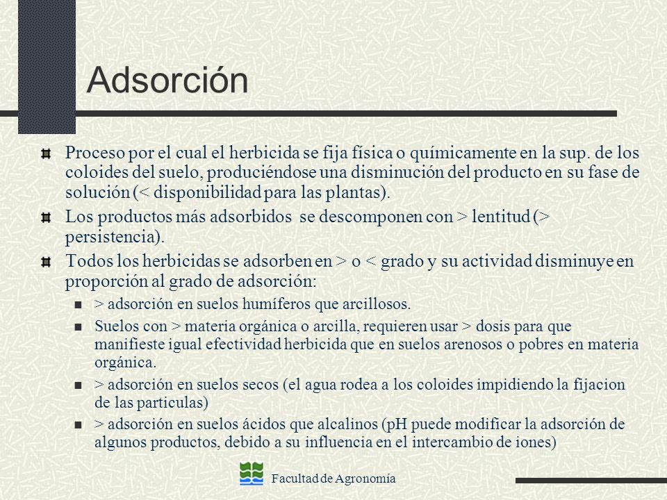 Facultad de Agronomía Adsorción Proceso por el cual el herbicida se fija física o químicamente en la sup. de los coloides del suelo, produciéndose una