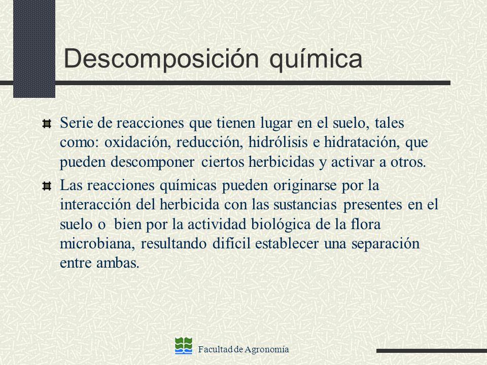 Facultad de Agronomía Descomposición química Serie de reacciones que tienen lugar en el suelo, tales como: oxidación, reducción, hidrólisis e hidratac