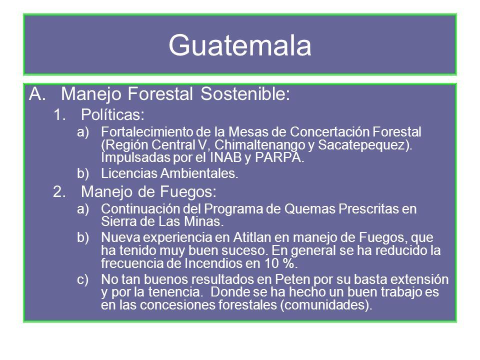 Guatemala A.Manejo Forestal Sostenible: 1.Políticas: a)Fortalecimiento de la Mesas de Concertación Forestal (Región Central V, Chimaltenango y Sacatepequez).