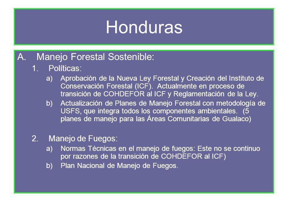 Honduras A.Manejo Forestal Sostenible: 1.Políticas: a)Aprobación de la Nueva Ley Forestal y Creación del Instituto de Conservación Forestal (ICF).