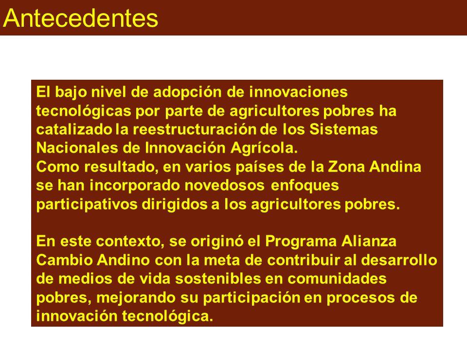 Antecedentes El bajo nivel de adopción de innovaciones tecnológicas por parte de agricultores pobres ha catalizado la reestructuración de los Sistemas Nacionales de Innovación Agrícola.