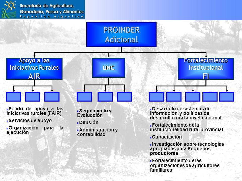 PROINDERAdicional Apoyo a las Iniciativas Rurales AIR FortalecimientoInstitucionalFI Fondo de apoyo a las iniciativas rurales (FAIR) Servicios de apoyo Organización para la ejecución Desarrollo de sistemas de información, y políticas de desarrollo rural a nivel nacional.