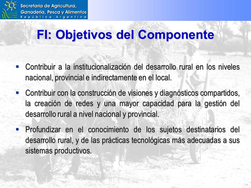 FI: Objetivos del Componente Contribuir a la institucionalización del desarrollo rural en los niveles nacional, provincial e indirectamente en el local.