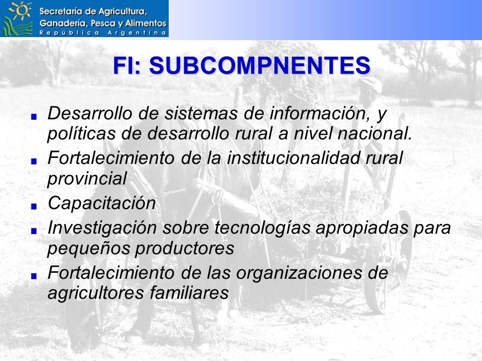 FI: SUBCOMPNENTES Desarrollo de sistemas de información, y políticas de desarrollo rural a nivel nacional.