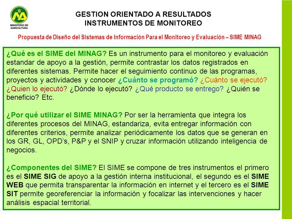 GESTION ORIENTADO A RESULTADOS INSTRUMENTOS DE MONITOREO Propuesta de Diseño del Sistemas de Información Para el Monitoreo y Evaluación – SIME MINAG ¿