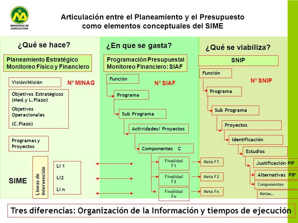 Articulación entre el Planeamiento y el Presupuesto como elementos conceptuales del SIME Función Programa Sub Programa Actividades/ Proyectos Componen